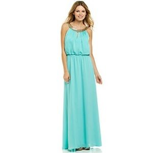 Vince Camuto sz 6 teal maxi dress w/ gold neckline